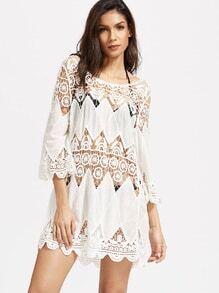Vestido hueco de croché bajo festoneado - blanco