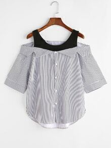 Pinstriped 2 In 1 Cold Shoulder Dip Hem Blouse
