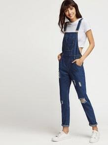 Dark Blue Roll Hem Ripped Denim Dungaree