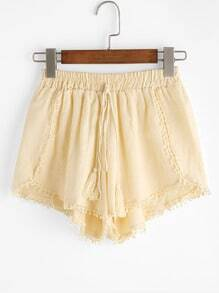 Yellow Tassel Drawing Waist Pleated Shorts