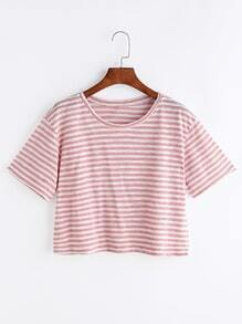 Contrast Striped Drop Shoulder Crop T-shirt