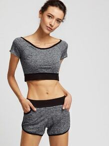 Heather Grey Contrast Trim Crop Top With Shorts