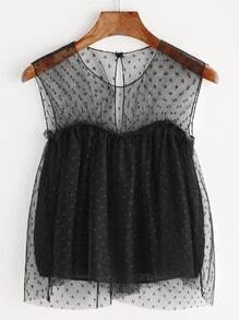 Black Keyhole Back Layered Lace Sheer Mesh Top
