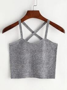 Grey Cross Back Crop Cami Top