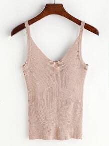 V Neck Ribbed Knit Cami Top