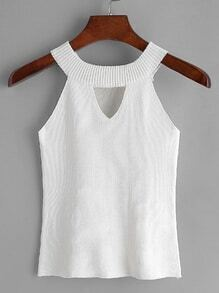 White Keyhole Front Ribbed Knit Top