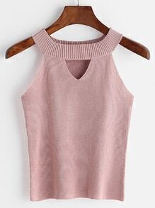 Pink Keyhole Front Ribbed Knit Top