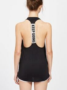 Black Letter Print T Back Tank Top