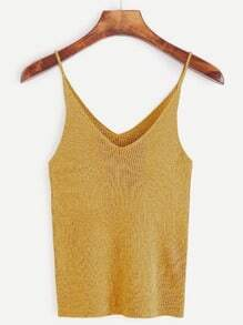Spaghetti Strap V Neck Ribbed Knit Cami Top