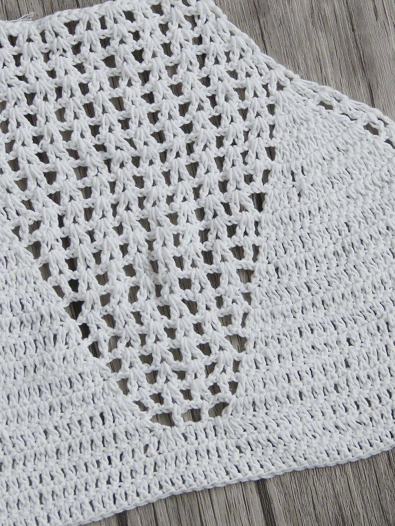 White Crochet Halter Neck Knitted TopFor Women-romwe
