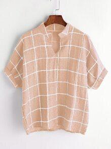 Pink Grid Print Dip Hem V Neck Blouse