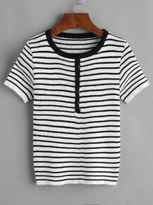 Striped Button Front Contrast Trim Knitted T-shirt