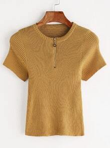Yellow Zipper Front Ribbed Knitted T-shirt