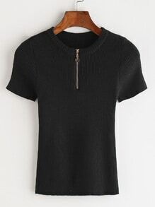 Black Zipper Front Ribbed Knitted T-shirt