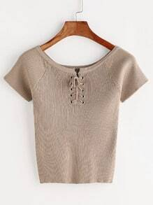 Khaki Lace Up Front Ribbed Knitted T-shirt