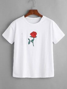 White Rose Print Ripped T-shirt