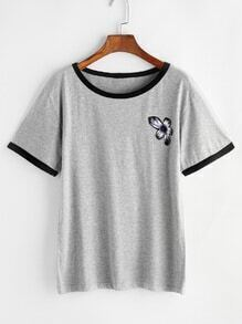Grey Flower Print Contrast Trim T-shirt