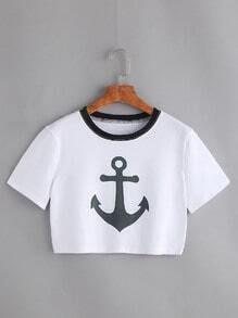 White Anchor Print Contrast Trim Crop T-shirt