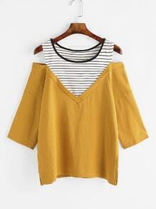 Yellow Striped Yoke Open Shoulder T-shirt