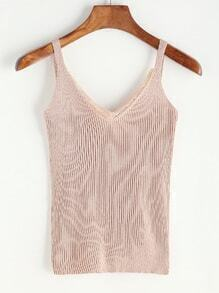 Lace Trim Ribbed Knitted V Neck Cami Top