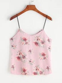 Pink Floral Print Cami Top