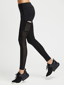 Active Mesh Paneled Leggings With Pocket