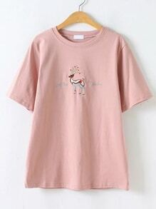 Pink Animal Embroidery T-shirt