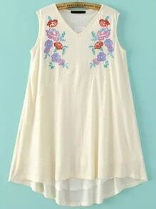 White Flower Embroidery Sleeveless Tent Dress