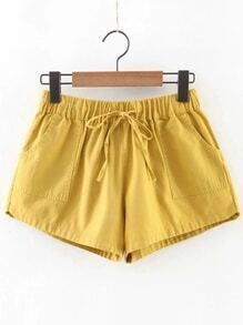 Yellow Elastic Waist Shorts With Pockets