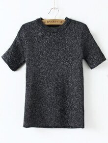 Black Crew Neck Short Sleeve Knitwear