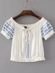 White Embroidery Boat Neck Lace Up Detail Blouse