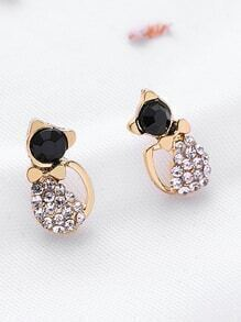 Rhinestone Cat Shaped Stud Earrings