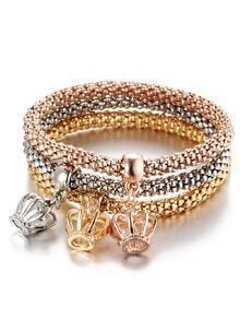 Multicolor Bracelet Set With Hollow Out Crown