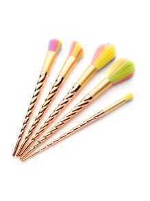 Gold Screw Handle Colorful Bristles Makeup Brush Set 5PCS