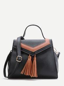 Black Satchel Bag With Contrast Tassel