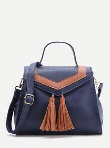 Navy Satchel Bag With Contrast Tassel