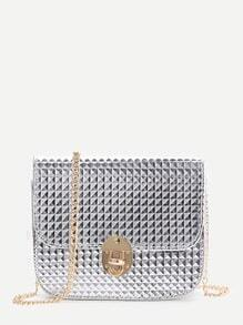 Silver Diamond Textured Twist Lock Chain Bag