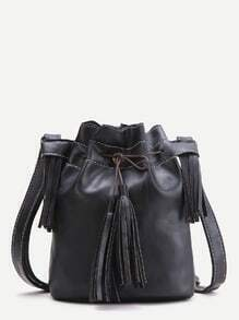 Black Tassel Detail Bucket Bag