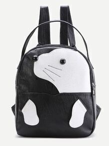 Black Animal Pattern PU Cute Backpack