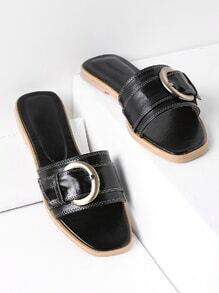 Black Buckle Detail Slide Sandals