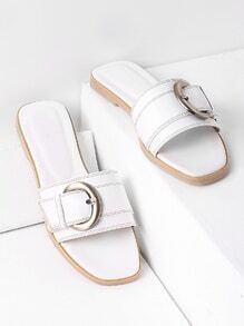 White Buckle Detail Slide Sandals