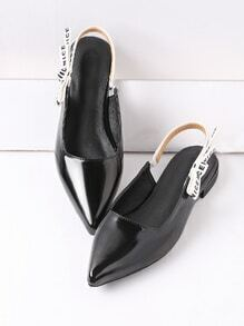 Black Point Toe Sling Back Patent Leather Flats