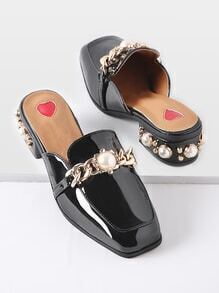 Black Faux Pearl Chunky Heeled Loafer Mules