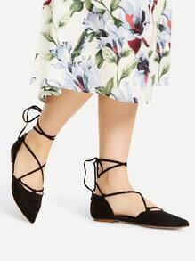 Black Point Toe Lace UP Ballet Flats