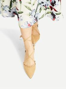 Bailarinas en punta con cordones - caqui