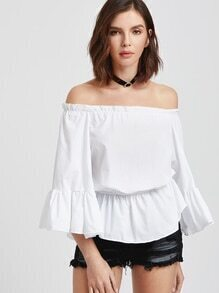 White Off The Shoulder Angel Sleeve Elastic Waist Blouse
