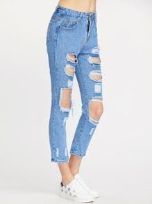 Blue Distressed Crop Denim Jeans