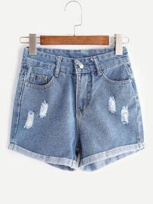 Blue Rip Cuffed Washed Denim Shorts