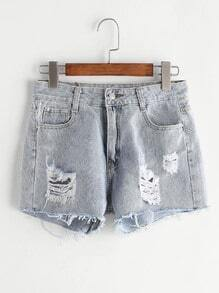 Blue Wash Frayed Cuffed Ripped Denim Shorts