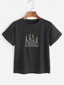 Camiseta con bordado de plantas - blanco